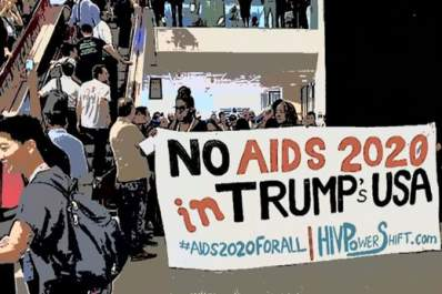 Protesters at AIDS 2018 conference