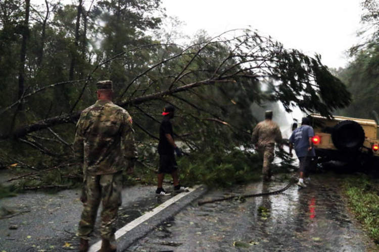 Florida National Guard Soldiers following the devastation of Hurricane Michael