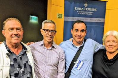 Original ACT UP activists Mark Harrington, Peter Staley, Gregg Gonsalves, and Ann Northrup at the Johns Hopkins Bloomberg School of Public Health on October 11, 2018