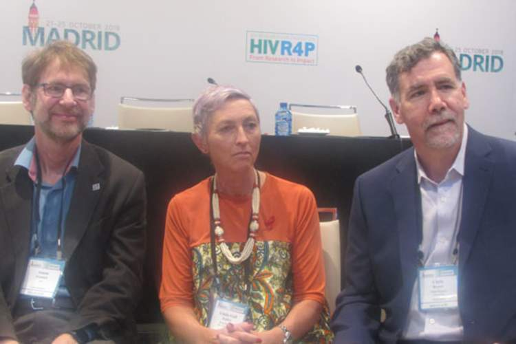 Anton Pozniak, Linda-Gail Bekker, and Chris Beyer at HIVR4P 2018