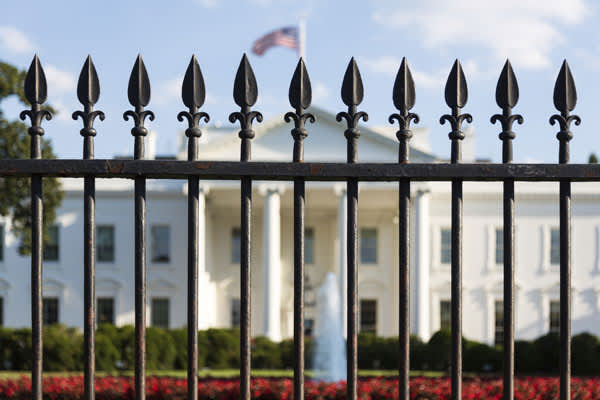 White House behind fence