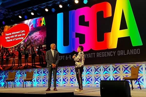 Phill Wilson, right, and Paul Kawata speak at USCA 2018