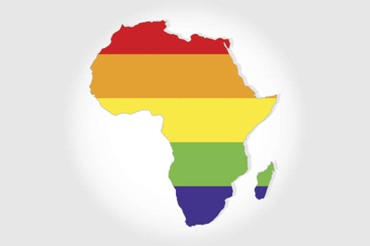 Rainbow flag in contour of Africa