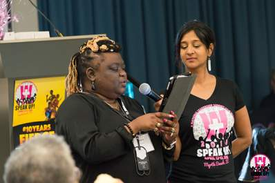 Stacy Jennings and Naina Khanna at SPEAK UP!, a national leadership summit for women living with HIV.