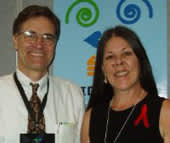 Loreen with Dr. Bruce Walker at the XVI International AIDS Conference in Toronto, Canada, August 2006. Loreen is participating in Dr. Walker's study on 'elite HIV controllers.'