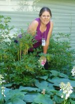 Loreen poses in the Hosta Gardens at the U.S. National Institutes of Health, June 2006.