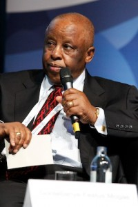 Festus Mogae, former President of Botswana speaking at the Leaders on Discrimination session the 18th International AIDS Conference in Vienna, Austria on 22 July 2010.