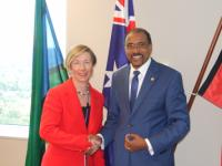 Jane Halton PSM, the Secretary of the Australian Department of Health and Ageing, and UNAIDS Executive Director Michel Sidibe in Canberra. Credit: Australian Department of Health and Ageing.