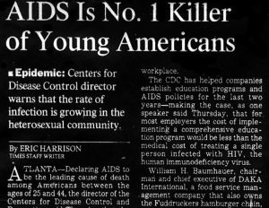 New York Times Article 'AIDS Is No. 1 Killer of Young Americans.'