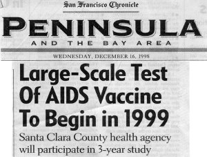 Large Scale Test of AIDS Vaccine to Begin in 1999