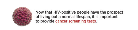 Not that HIV-positive people have the prospect of living out a normal lifespan, it is important to provide cancer screening tests.
