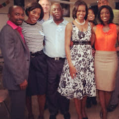 BET News Team with First Lady Obama Luke, Angela, James, and Lola