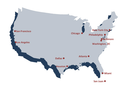 U.S. map of 12 Cities Project