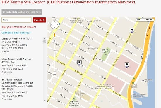An AIDSVu map of HIV testing locations available in ZIP code 10010. (Credit: AIDSVu.org)