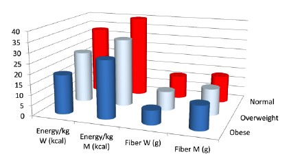 Dietary Energy and Fiber by BMI in US Adults With HIV