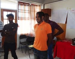 Peer educators in DomCHAP's Dominica Healthy Men Project take part in a training session.