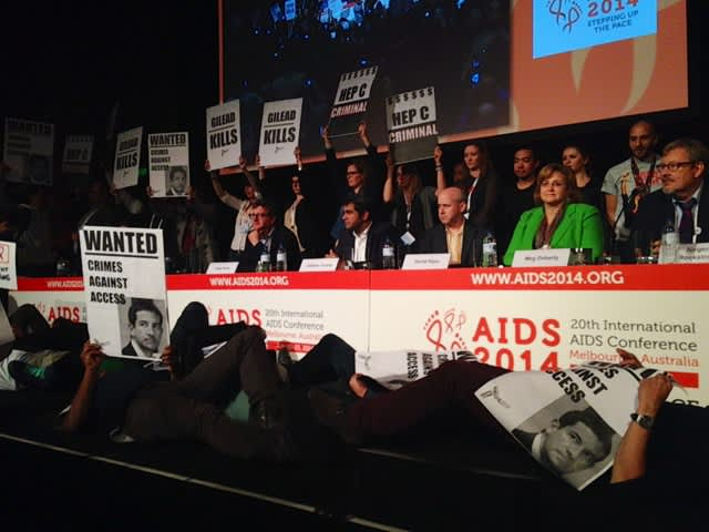International activists protested Gilead at the 20th International AIDS Conference for the high cost of Sovaldi (sofosbuvir). Now, ACT UP New York is calling on the U.S. Senate to take steps to lower the price to benefit people living with hepatitis C.