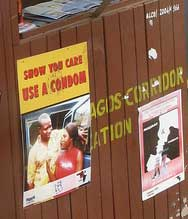 An HIV awareness campaign poster at the Ghana/Ivory Coast Border in 2007, prior to an upsurge in anti-gay backlash. (Credit: Felix Krohn)