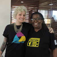 Jessica Whitbread (on left) and Martha Tholanah of International Community of Women Living With HIV/AIDS (ICW)