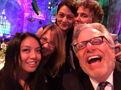Selfie taken by <i>In Love & Anger</i> editor Geof Bartz with (clockwise) co-editor Gladys Mae Murphy, producer Ellin Baumel, co-producer Shanti Avirgan and producer/director Jean Carlomusto