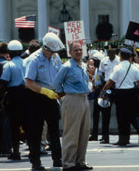 Larry Kramer arrested during a Washington protest in 1987