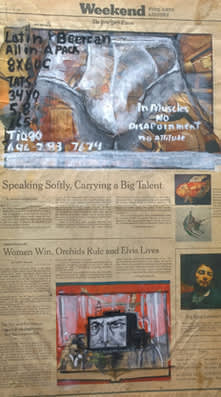 Jose Luis Cortes, 'Latin Beer can (sex add),' gouache on newspaper, 2010