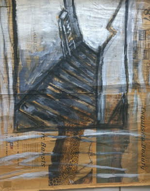 Jose Luis Cortes, 'Stairway to Eros,' acrylic on newspaper, 1996