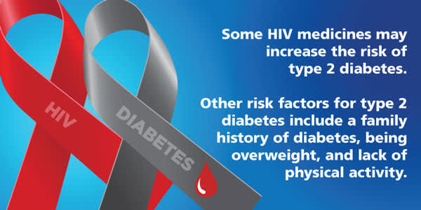 Some HIV medicines may increase the risk of type 2 diabetes.