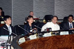 Dr. Lo (second from left) speaks during a bi-regional meeting on the dissemination and roll out of the WHO 2014 Consolidated Guidelines on HIV Prevention, Diagnosis, Treatment, and Care for Key Populations.