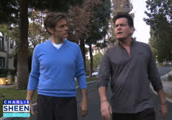 Charlie Sheen and Dr. Oz in the midst of a totally organic morning jog/heart-to-heart about the actor's struggles with addiction, mental illness and HIV.