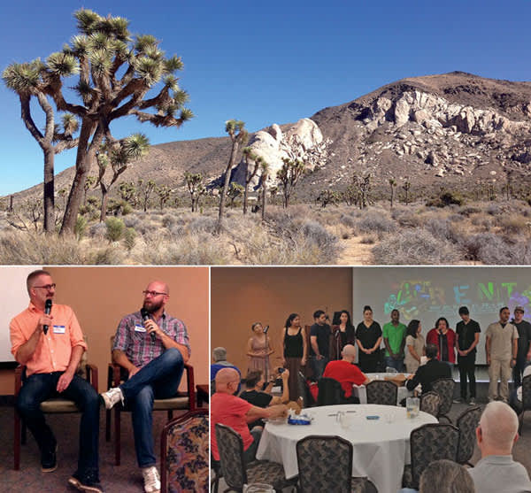 Top: Joshua Tree National Park. Above, left: Eric Jannke (left) and Desert Migration director Daniel Cardone (right). Above right: the cast of College of the Desert's production of <i>Rent</i> performs. (Credit: Jeff Berry)