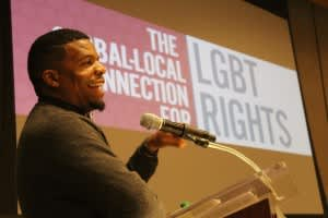 Tim'm T. West, author, activist, poet, and Programming Board member, LGBT Institute.  (Credit: <i>Georgia Voice</i>)