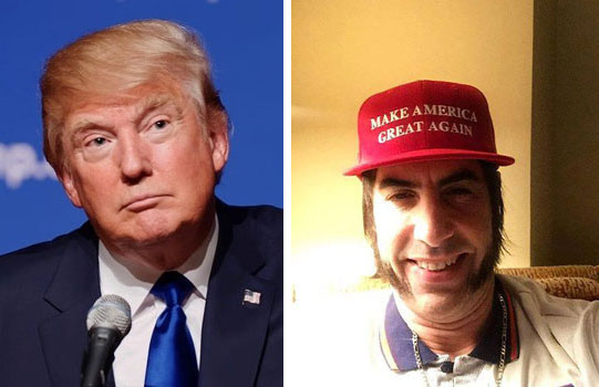 Donald Trump and Sacha Baron Cohen