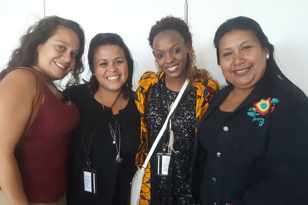 Janet Duran (New Jersey Red Umbrella Alliance, USA), Samantha Carrillo (RedTraSex, Guatemala), Daughtie Ogutu (African Sex Workers Alliance, Kenya) and Maria Lucila Esquivel (RedTraSex, Paraguay) after a policy meeting with UN Women