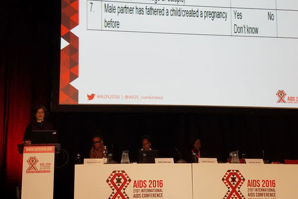 Natasha Davies, MBChB, M.P.H., presents her fertility assessment tool at AIDS 2016 (Credit: Olivia G. Ford)