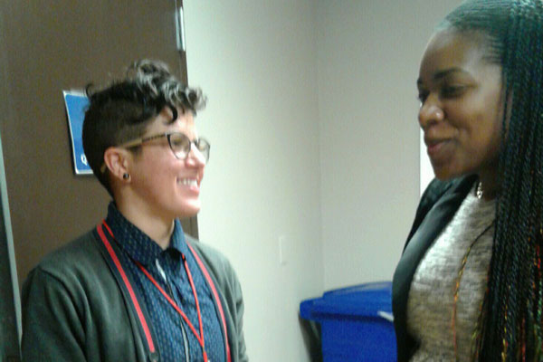 Shyronn is interviewed by reporter Regina Willis