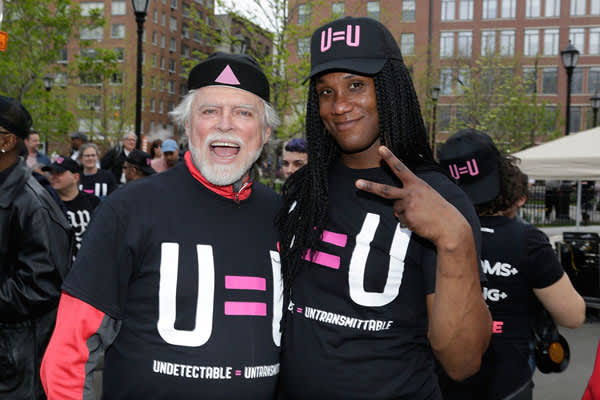 Housing Works' head Charles King with one of the U=U dance partygoers