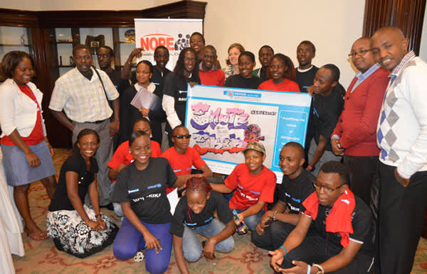 With members of 'Sauti Skika' (Amplify our voices) initiative for Adolescents and young people living with HIV at a UNICEF sponsored event in 2015