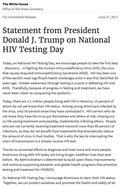 Statement from President Donald J. Trump on National HIV Testing Day