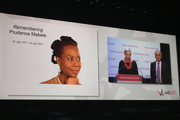 Attendees at IAS 2017 remember HIV activist Prudence Mabele (Credit: Warren Tong)