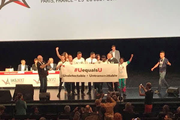 U=U activists takes the stage for a dance party followed by a call to action for equal access to HIV information, treatment and care. Thank you Minas Arda Panosian and Jacque Wambui for your powerful speeches, and Charles King and Christian Hui for leadin