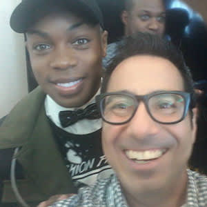 Charles Sanchez takes a selfie with Todrick Hall after Hall's performance at the 2016 U.S. Conference on AIDS in Hollywood, Fla.