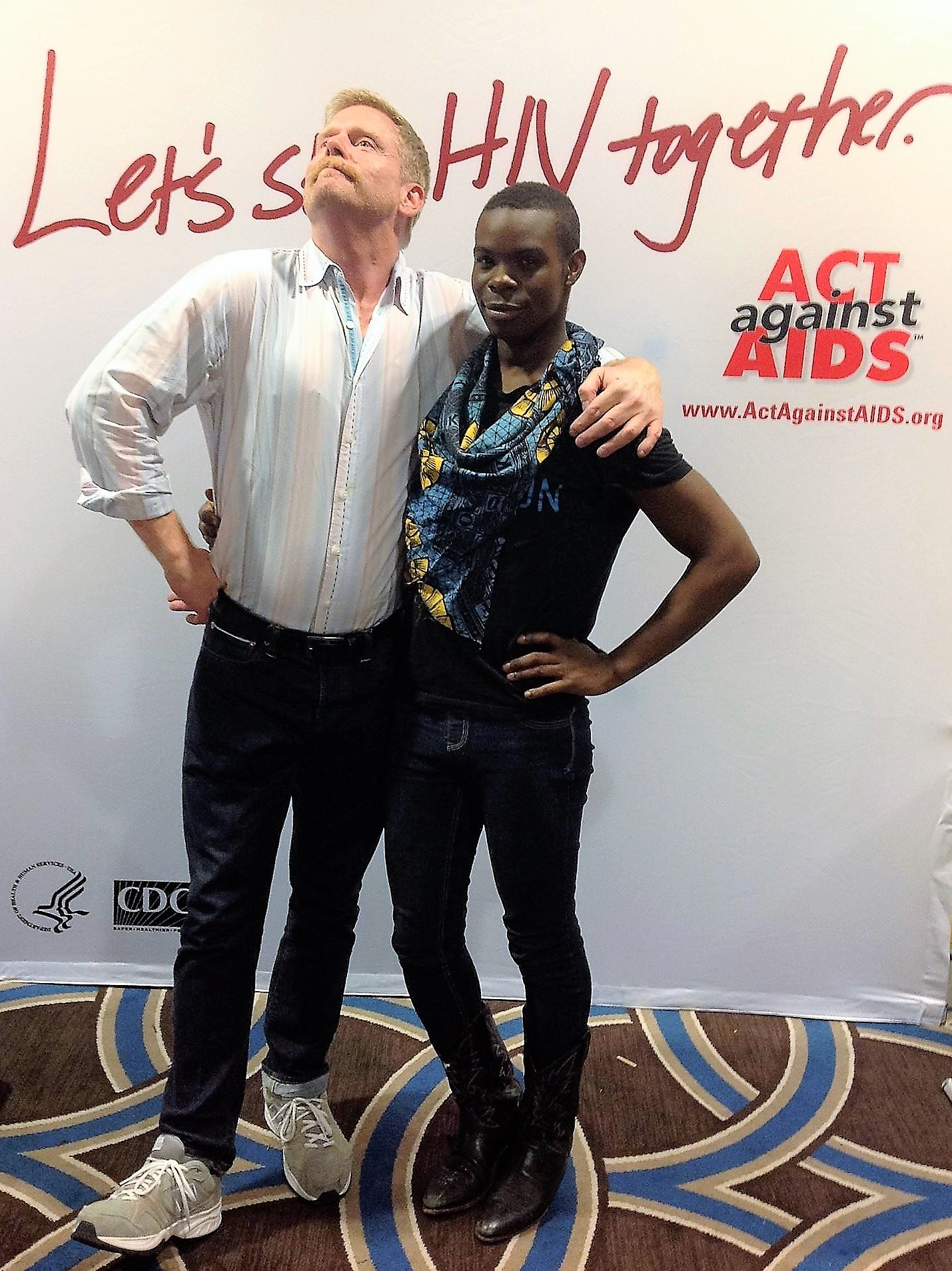 Mark S. King and Antron Reshaud Olukayode at the 2013 U.S. Conference on AIDS