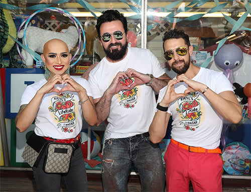 At Kiehl's 9th Annual LifeRide for amfAR (left to right): performer Ongina, Kiehl's Brand Ambassador Chris Salgardo, Viktor Luna