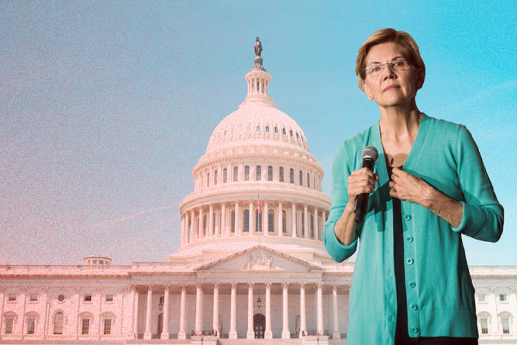 Elizabeth Warren superimposed over Capitol building