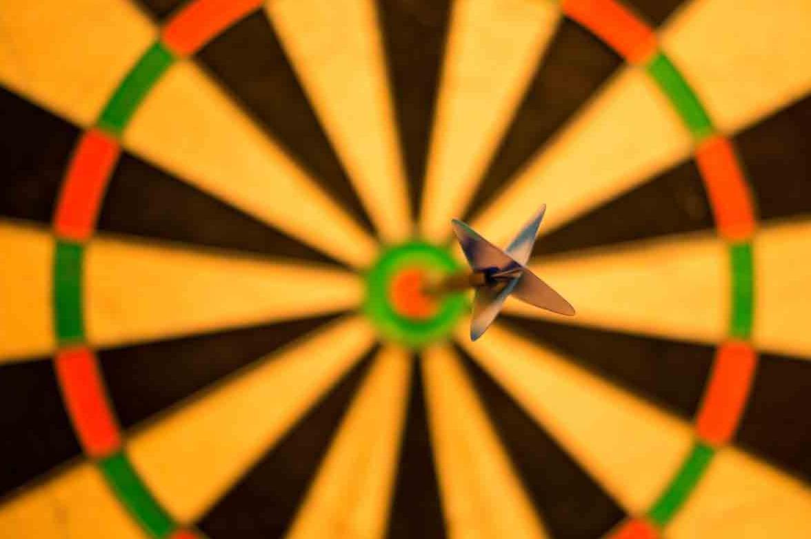 A bullseye on a dartboard representing user persona goals