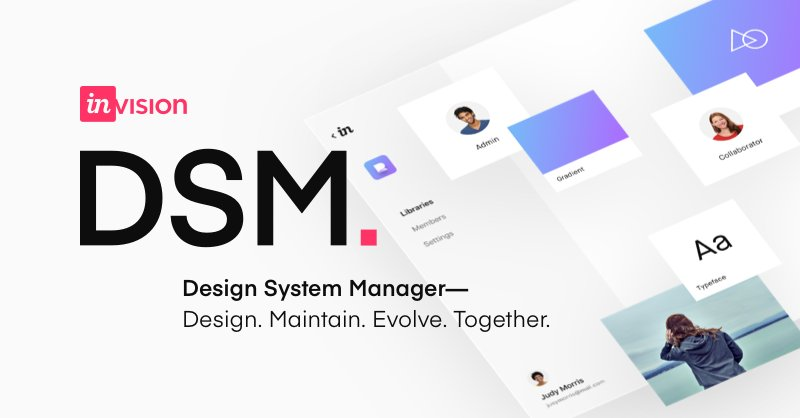 InVision's design system manager with design system concepts in the background