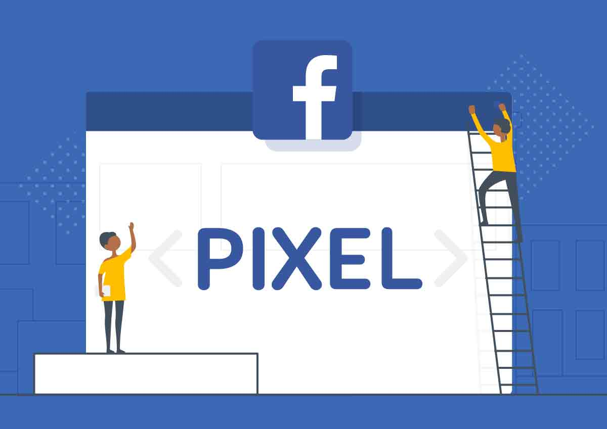Animated graphic of the Facebook Pixel with animated people