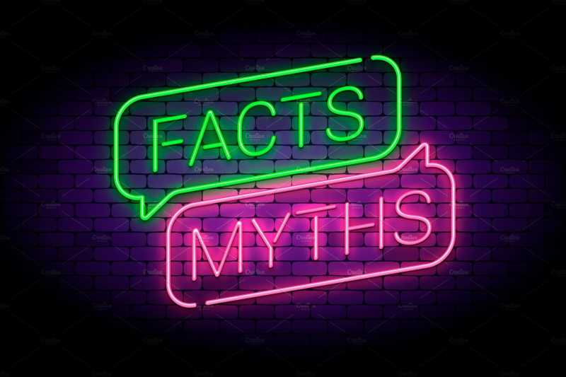 "This is a photo of a neon sign in green and pink. The sign reads ""facts"" (in neon green) and ""Myths"" (In neon pink."