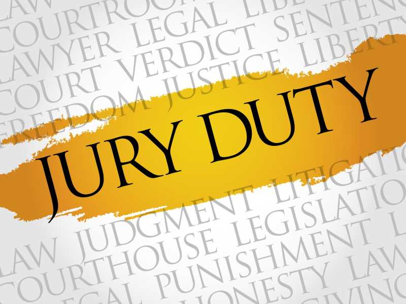 "This is a photo that has the words ""JURY DUTY"" written on it. The term is highlighted in yellow."